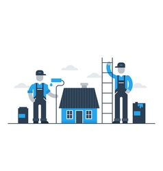 House painting workers refresh exterior vector
