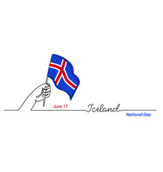 iceland flag with hand independence day vector image