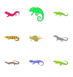 Iguana and lizard icons set cartoon style vector