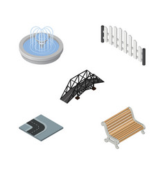 Isometric architecture set of expressway park vector