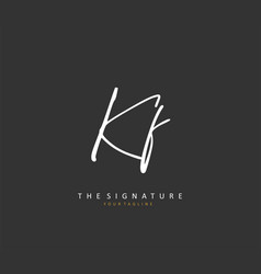 Kf initial letter handwriting and signature logo vector