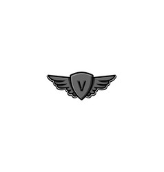 Letter v initial logo wing and badge shield vector