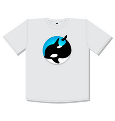 Logo cute whale orca blue t shirt print vector