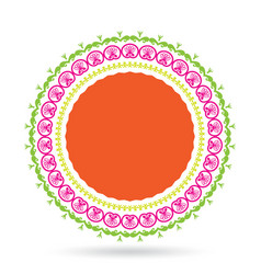 Lotus flower elements round floral ornament vector