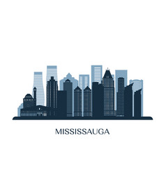 mississauga skyline monochrome silhouette vector image
