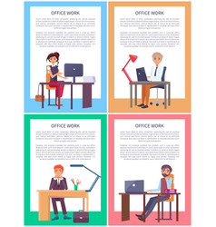 office work posters set men women working tables vector image