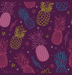 Pineapple party purple summer tropical vector