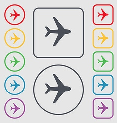 Plane icon sign symbol on the Round and square vector