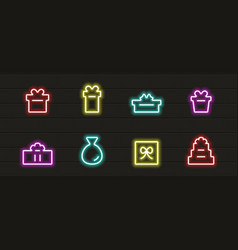 present icon set in neon light vector image