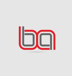 Red grey alphabet letter logo combination ba b a vector
