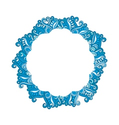 Round Blue Wave frame ornament banner vector image