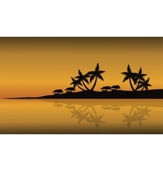 Scenery beach of silhouette at sunset vector