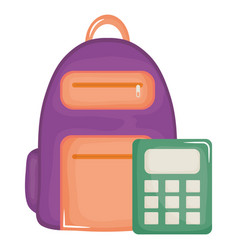 schoolbag with calculator math supplies vector image