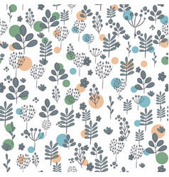 seamless pattern with dark silhouettes of flowers vector image
