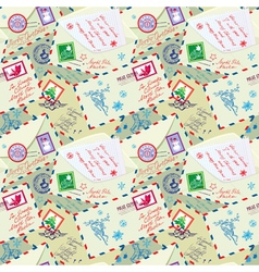 Seamless pattern with xmas stamps envelops labels vector image