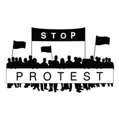 Seniors protest silhouette vector
