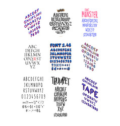 set different fashionable fonts all letters vector image