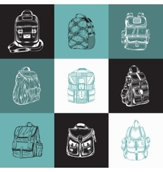 Set of different hiking backpack vector