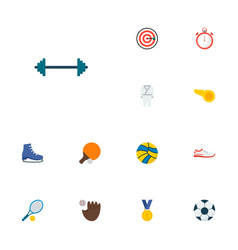 set of fitness icons flat style symbols with ping vector image