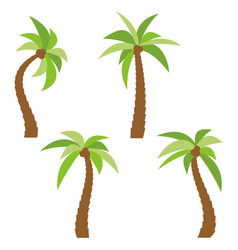 set of four different cartoon palm trees vector image