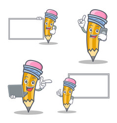 set of pencil character with board phone laptop vector image