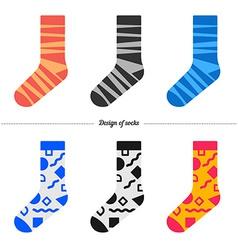 Set socks with original hipster design vector