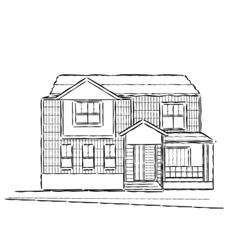 Sketch of village building vector