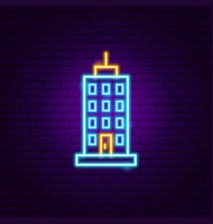skyscraper neon sign vector image