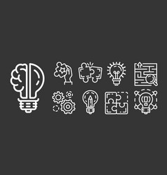 solution icon set outline style vector image