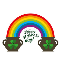 st patricks day pots clover and rainbow symbol vector image
