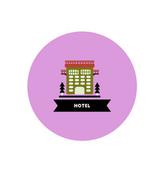 Stylish icon in color circle building hotel vector