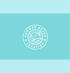 summer beach island sea ocean wave vacation logo vector image