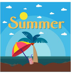 summer beach umbrella coconut tree sea background vector image