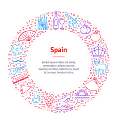 symbol of spain thin line banner card circle vector image