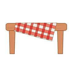 Table wooden with picnic tableclothes vector