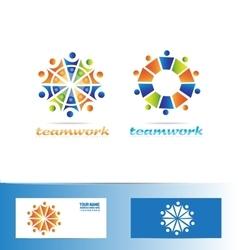 Team teamwork logo icon concept vector