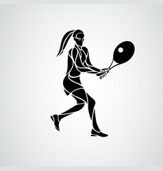tennis player female stylized abstract vector image