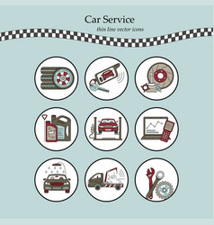 Thin line pictogram symbols of car service vector
