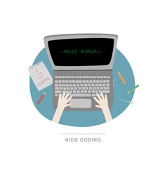 Top view of laptop and coding child vector