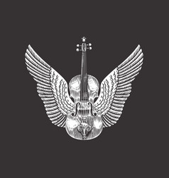 violin with wings hand drawn grunge sketch vector image