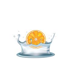 Water splash with orange vector