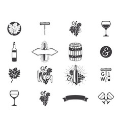 Wine production icons set winery wine shop vector