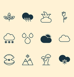 World icons set collection of raindrop snowstorm vector