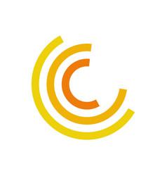 Yellow half circle motion abstract symbol vector