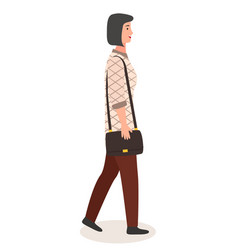 young modern woman is depicted in profile girl vector image