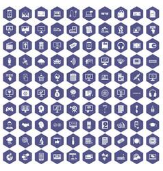 100 website icons hexagon purple vector image vector image