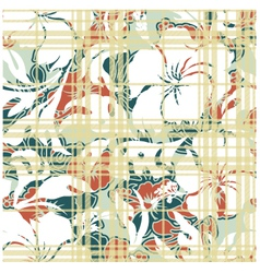 Hibiscus and Tartan pattern vector image vector image