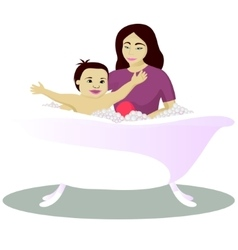 Mother washes smiling child isolated on white vector image