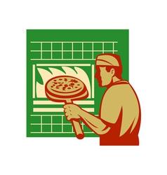 Pizza pie maker or baker holding baking pan oven vector image