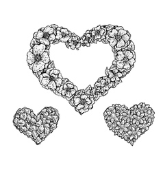 Set of heart shaped floral frames and silhouettes vector image